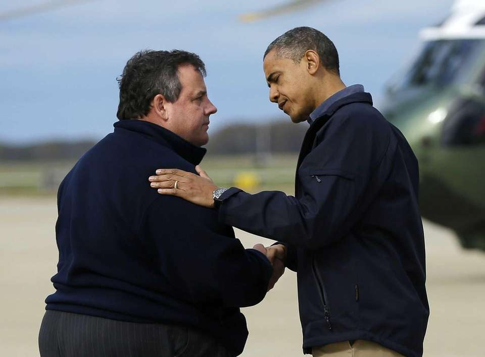 President Barack Obama is greeted by New Jersey
