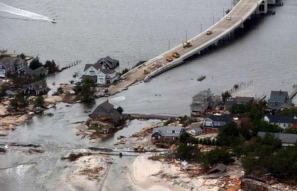The view of storm damage over the Atlantic