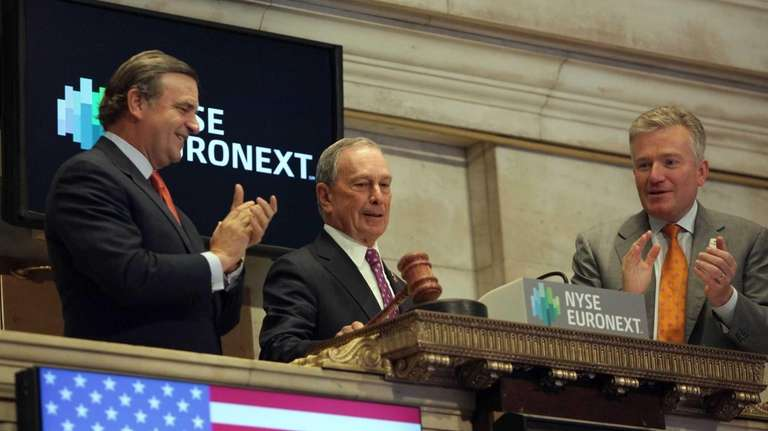 New York City Mayor Michael Bloomberg brings down