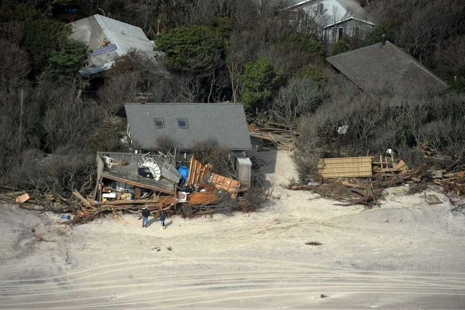 Oceanfront homes at Davis Park, Fire Island were
