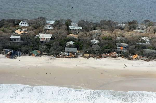 This aerial photograph shows debris from destroyed oceanfront