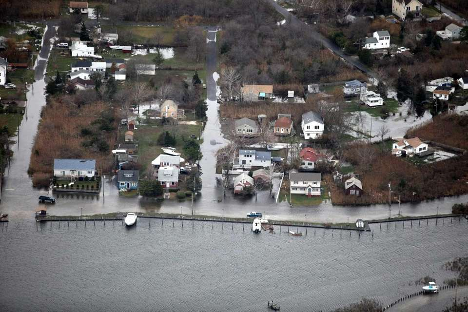An overhead view of Sayville, seen after it