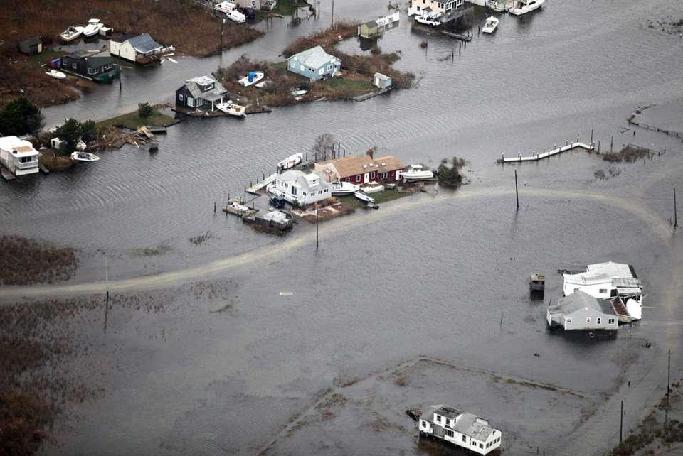 Flooding on Long Island caused by superstorm Sandy.