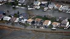 An overhead view of flooded Sayville, after Superstorm