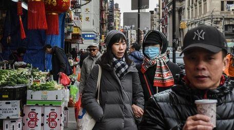 Pedestrians in Flushing, Queens on Feb. 5.