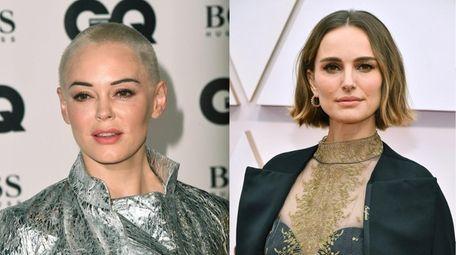 Actresses Rose McGowan, left, and Natalie Portman appear