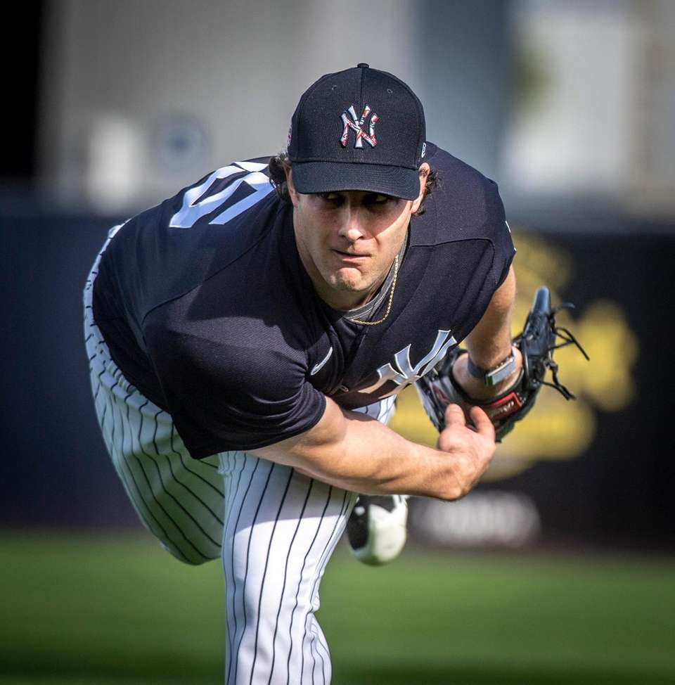 New York Yankees' pitcher Gerrit Cole warming up