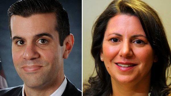 Two Republicans, Michael Venditto, left, and Joanne Maglione,