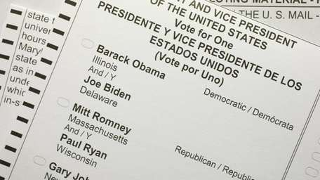A 2012 United States presidential election absentee ballot