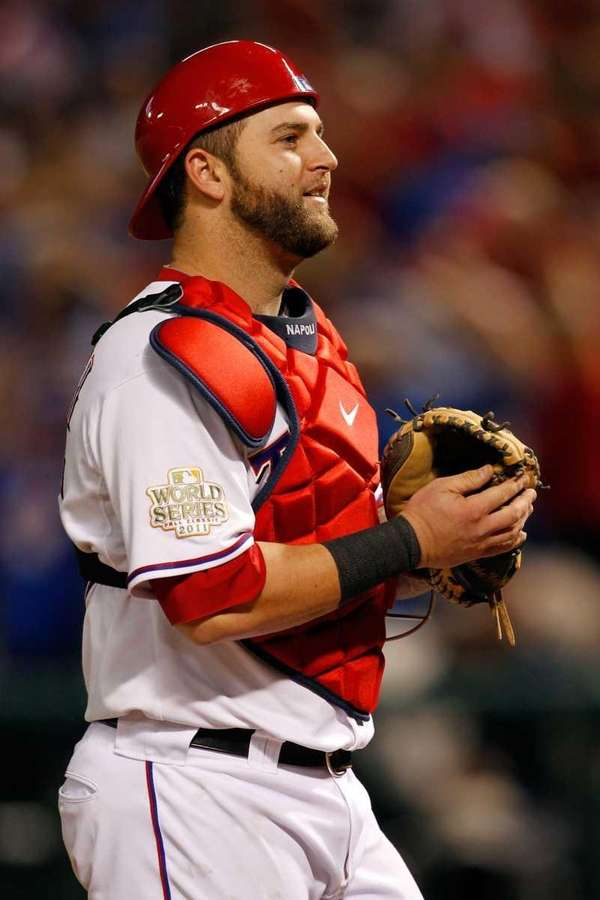 Mike Napoli #25 of the Texas Rangers stands