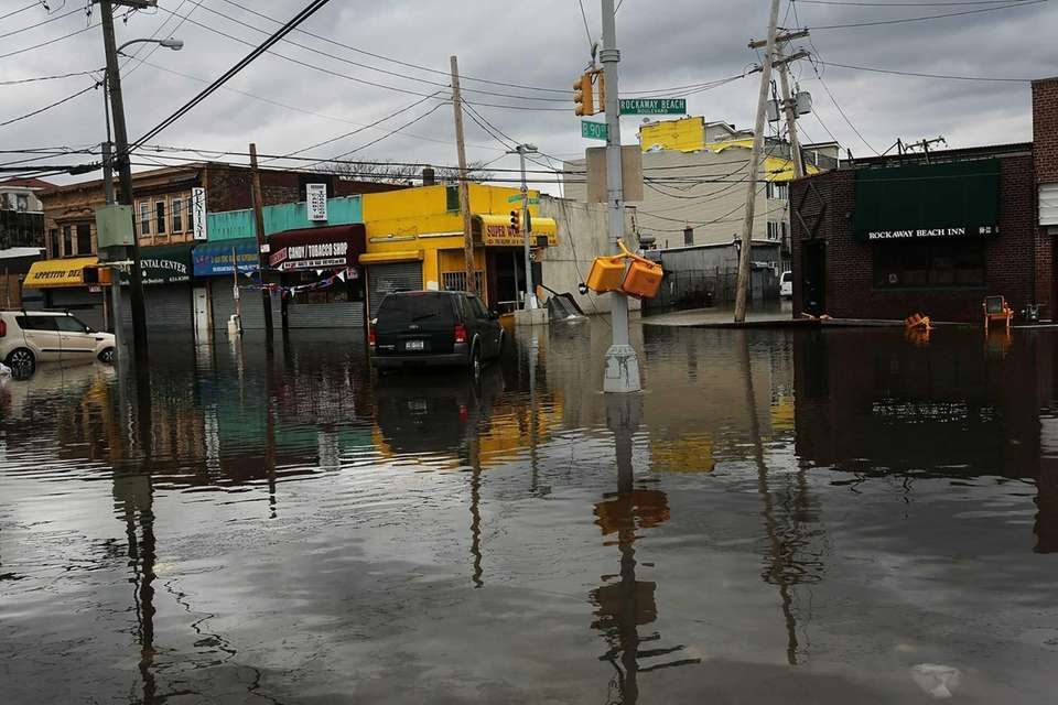 Flood damaged streets are viewed in the Rockaway