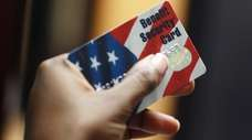 A Federal food stamps card that is used