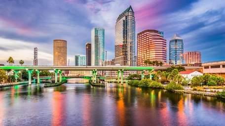 The downtown skyline on the Hillsborough River in