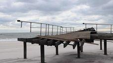 A demolished boardwalk at Field 5 at Robert