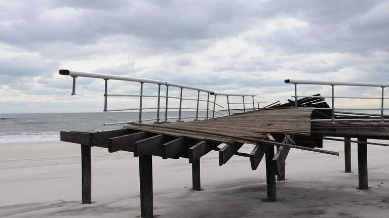 A demolished boardwalk at Field 5 at Robert