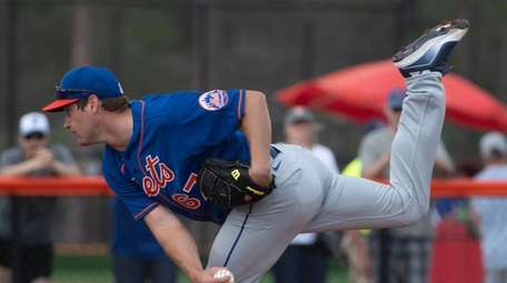 Mets pitcher Seth Lugo during a spring training