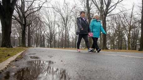 Despite wet conditions walkers still do their workout