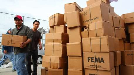 FEMA leaves food rations for residents in Long