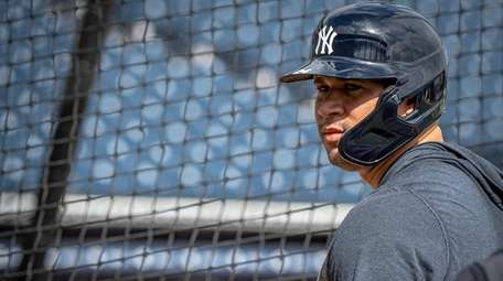 Yankees' catcher Gary Sanchez waiting for batting practice