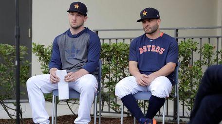 Houston Astros infielder Alex Bregman, left, and teammate