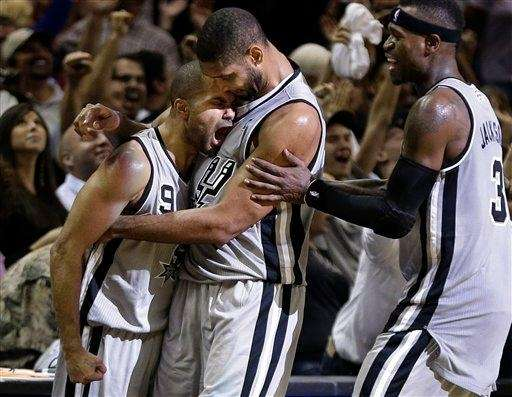 San Antonio Spurs guard Tony Parker (9) celebrates