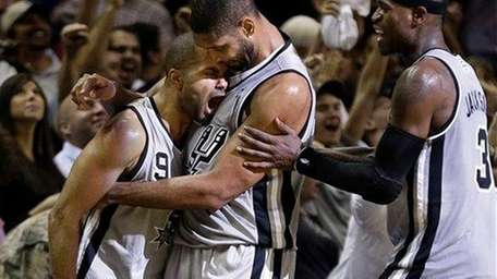 San Antonio Spurs guard Tony Parker (9) celebrates