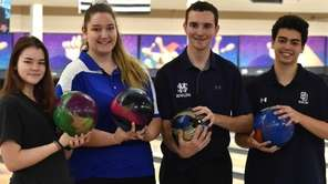Individual CHSAA bowling champions, from left, Rhiannon Dugre
