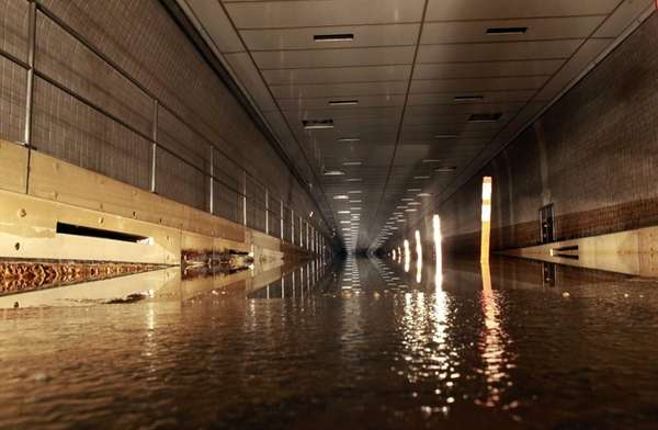 The flooded Hugh L. Carey Tunnel, previously known