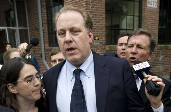 Former Boston Red Sox pitcher Curt Schilling, center,