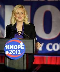 "Amy Poehler is Leslie Knope in ""Parks and"