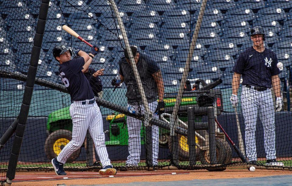 New York Yankees' Kyle Higashioka taking batting practice