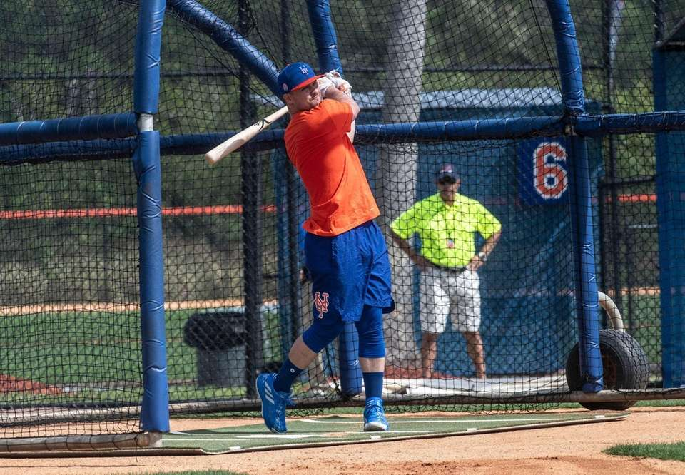 Mets outfielder Michael Conforto takes batting practice during