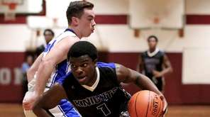Smithtown Christian guard Josh Mangum drives the outside