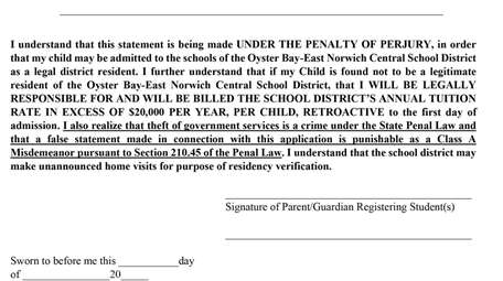 Parents and guardians in the Oyster Bay-East Norwich