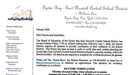 The Oyster Bay-East Norwich Central School District announced