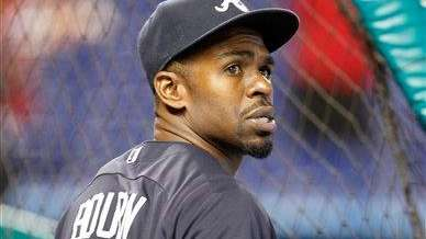 Atlanta Braves center fielder Michael Bourn looks on
