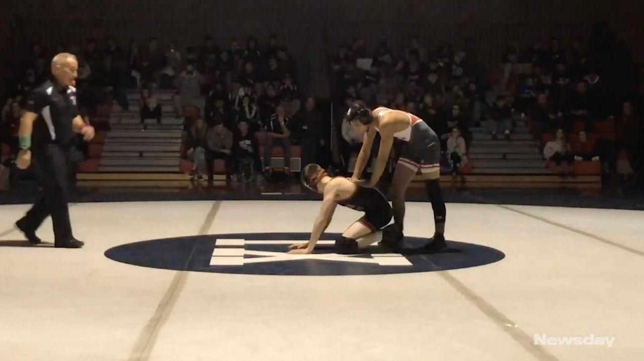 Center Moriches' Jordan Titus won by technical fall