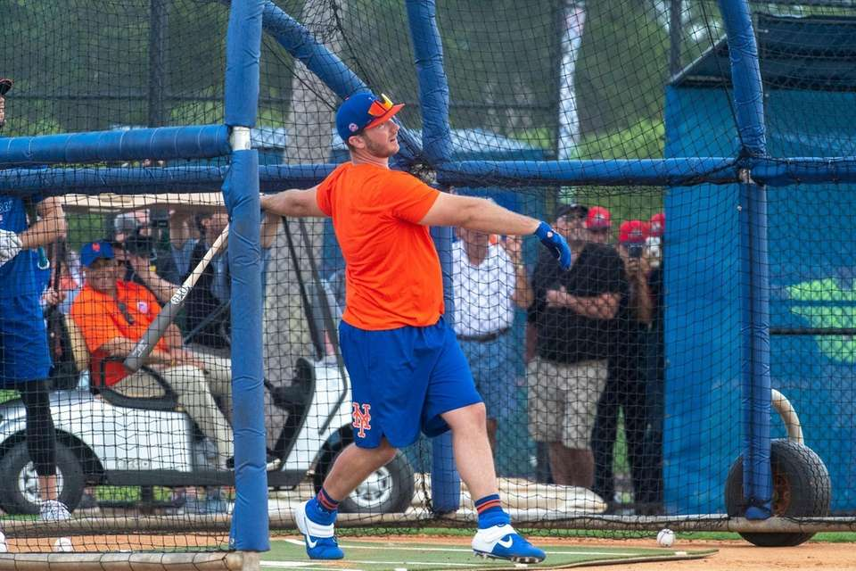 Mets infielder Pete Alonso takes on batting practice
