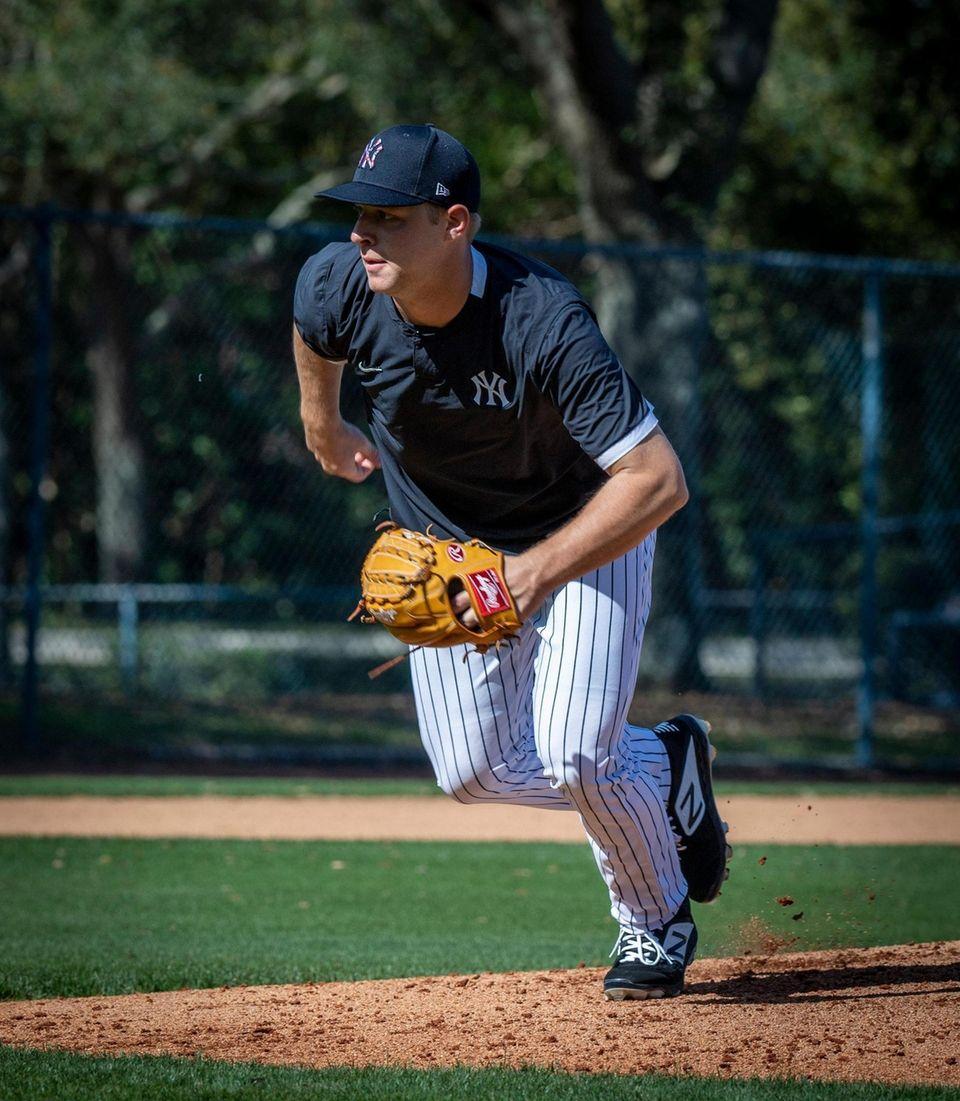 New York Yankees' pitcher JA Happ working through