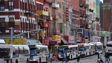 New York City buses temporarily used to shuttle