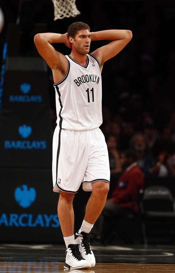 Brook Lopez of the Brooklyn Nets reacts to