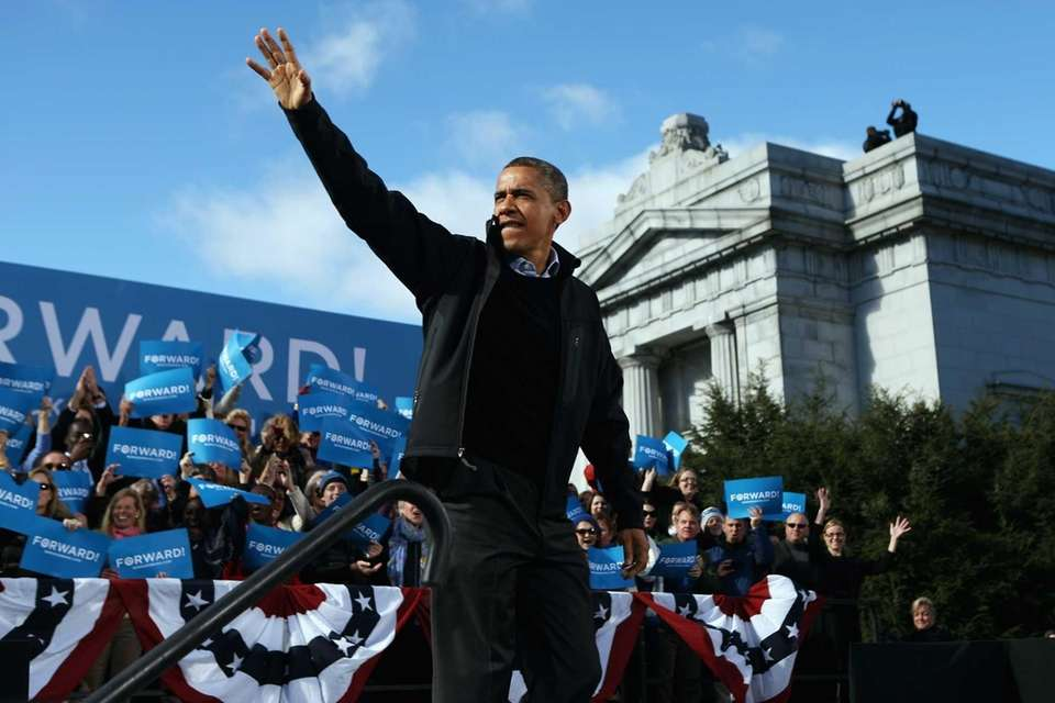 President Barack Obama arrives for a campaign rally