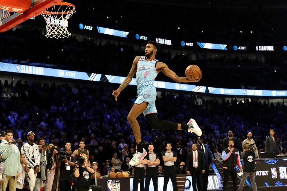 Miami Heat's Derrick Jones Jr. heads to the