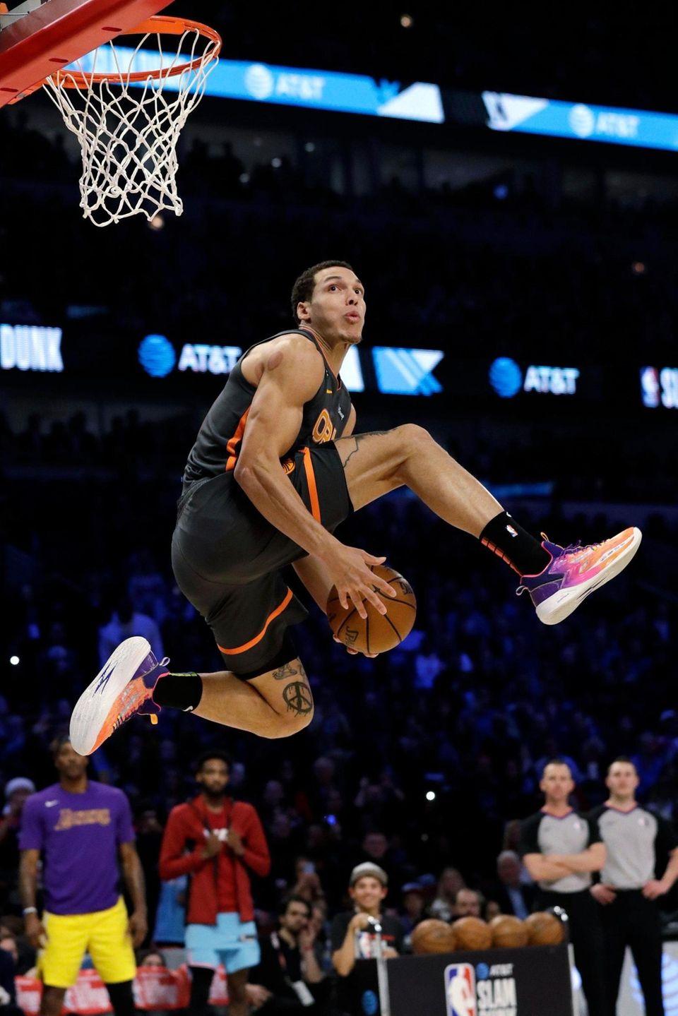 Orlando Magic's Aaron Gordon competes in the NBA