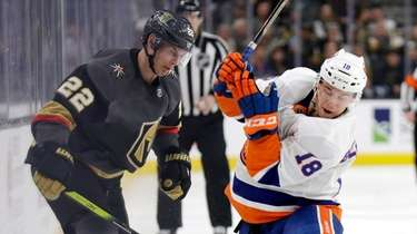 Golden Knights defenseman Nick Holden and Islanders forward
