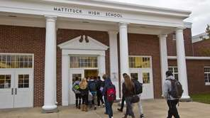 Students arrive at Mattituck-Cutchogue Jr. Sr. High School