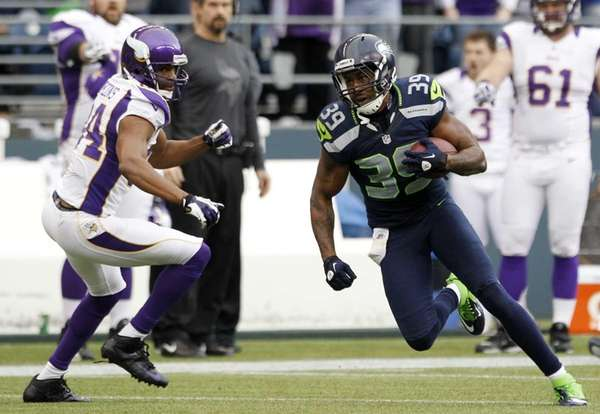 Seattle Seahawks' Brandon Browner takes off past Minnesota's
