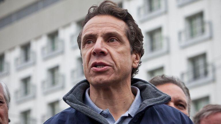 New York Gov. Andrew Cuomo speaks to members
