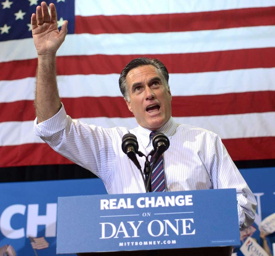 Republican presidential candidate Mitt Romney holds a rally