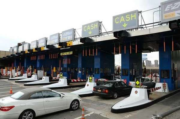 Toll booths at the Queens-Midtown Tunnel toll plaza.